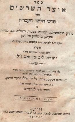 אוצר השרשים - שרשי הלשון העברית / כרכים א-ב. (וינה 1840)